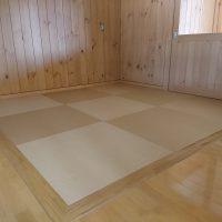 保育園新築工事、床暖房使用で畳厚さ14ミリ、和紙表使用です。