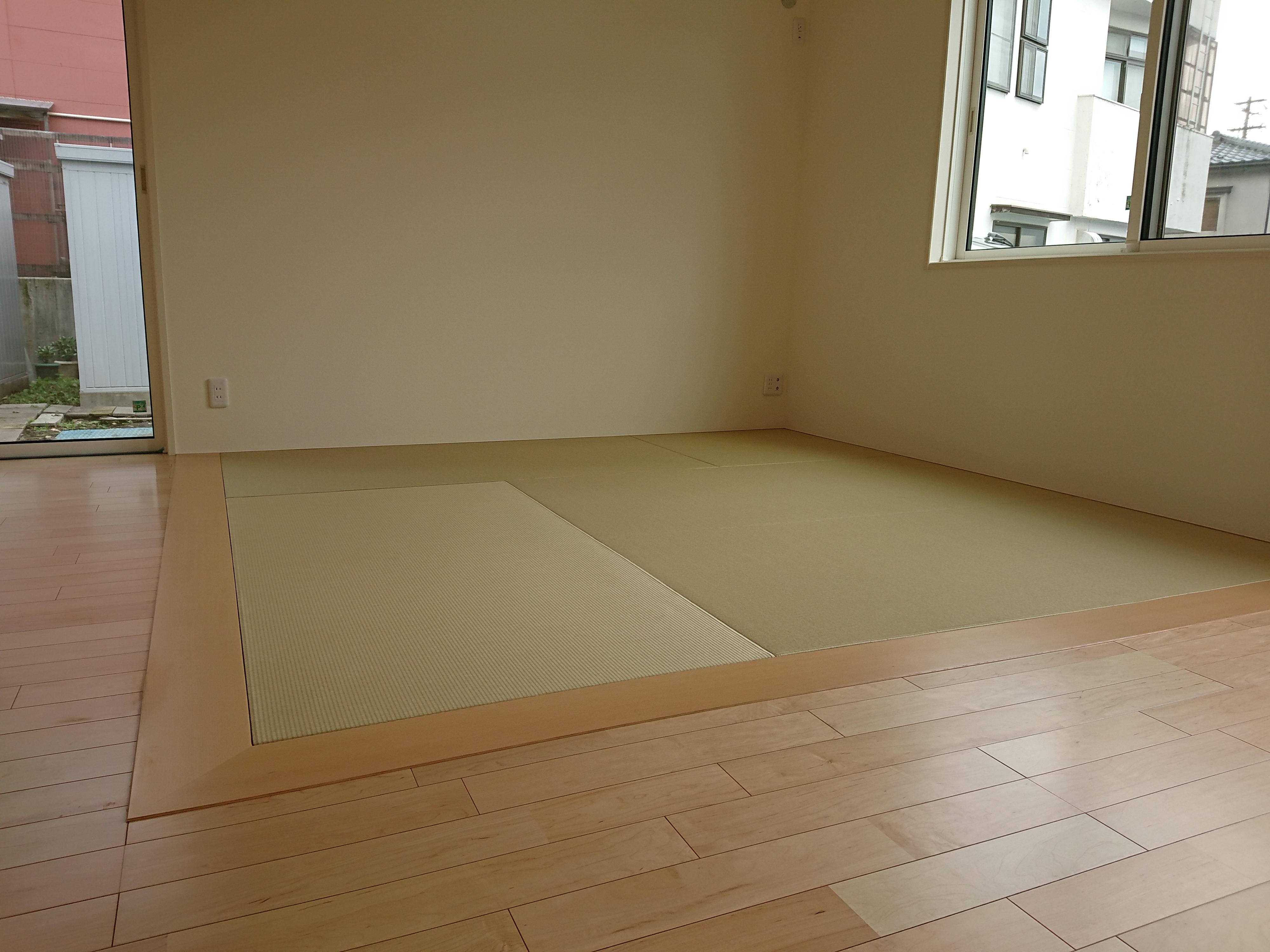 新築、畳コーナーです。和紙縁ナシ畳